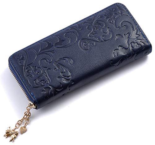 Leather Women Wallet RFID Card Holder Flower Pattern Long Purse Zipper Clutch (Blue - Zipper Purse Pattern