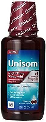 Unisom NightTime Sleep-Aid Cherry Flavored Liquid, 12 fl oz - Buy Packs and SAVE (Pack of 5)