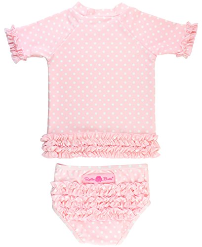 - RuffleButts Little Girls Rash Guard 2-Piece Swimsuit Set - Pink Polka Dot Bikini with UPF 50+ Sun Protection - 12-18m