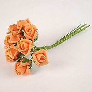 Maylife Bunch 10 Foam Rose Buds (Orange) - Artificial Flowers 120