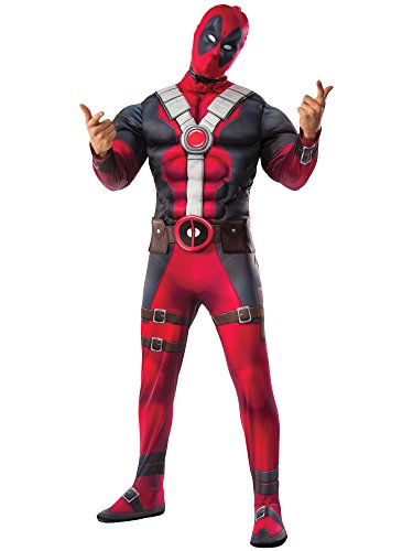 Marvel Men's Deadpool Deluxe Muscle Chest Costume and Mask, Multi, X-Large
