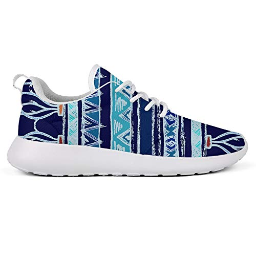Anigarey Women's Fashion Lightweight Breathable Ethnic Style Vertical with Lines and Zigzags Art Image Running Shoes, Mesh-Comfortable Sneakers