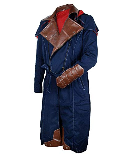 III-Fashions Assassin Arno Dorian Cosplay Hoodie Unity Costume Denim Cloak Blue Creed Trench ()