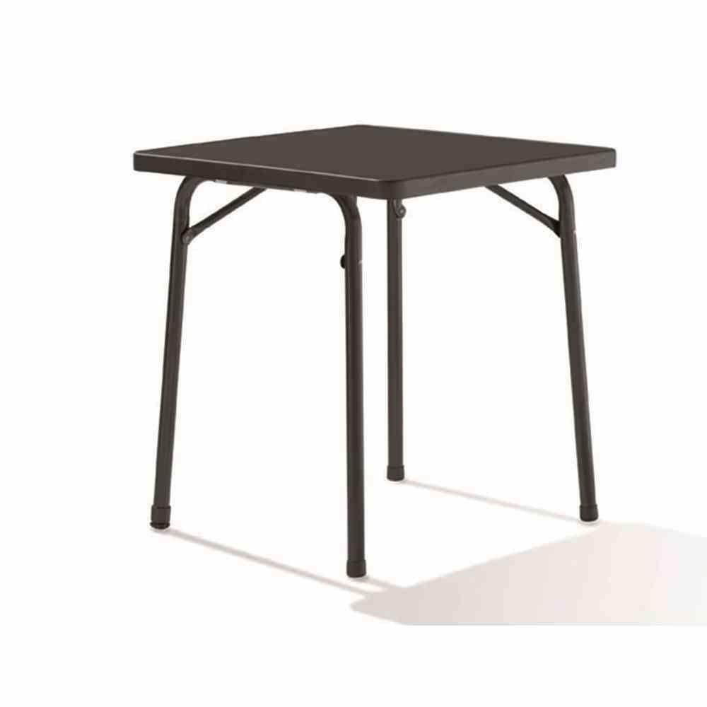 Sieger 211/G Tavolino pieghevole da giardino, 70 x 70 cm, struttura in acciaio, piano Mecalit-Pro, decorazione ardesia, altezza 72 cm, colore: Grigio ferro/Antracite