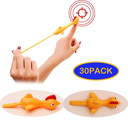 Beita Rubber Chicken Flick Flying Sticky Chicken Toys Gift,Office Prank Easter Turkey for Adult and Kids Sligshot Chicken Dog Toys(30PACK)