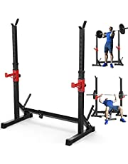 Adjustable Multi-Function Barbell Rack Stand, Max Load 600lbs Adjustable Squat Rack Dipping Station Dip Stand Fitness Barbell Free Bench Press Stands Press Equipment Home & Gym