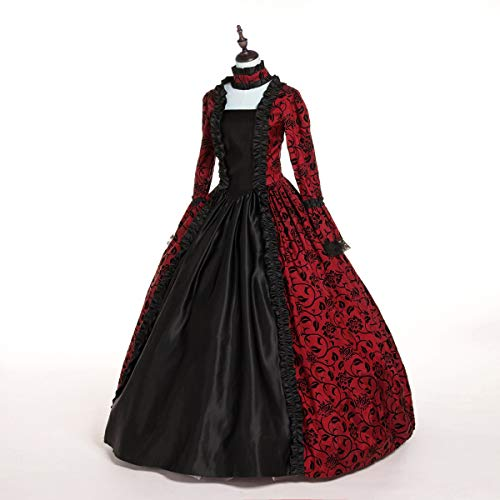 CountryWomen Renaissance Gothic Dark Queen Dress Ball Gown Steampunk Vampire Halloween Costume (2XL, Red and Black) -