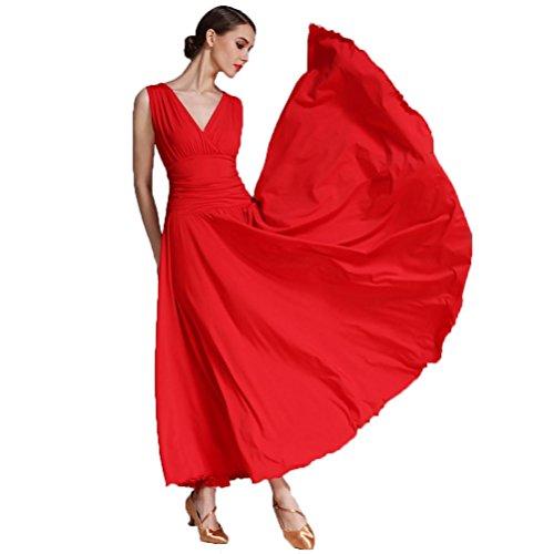 Ghiaccio Formazione Red Drappeggiato Ballo V In Wqwlf Moderni Senza Balli Sala Abiti Valzer Da M Abito Prestazione l Maniche Donna Viscosa Seta collo Di wCBqXZ8
