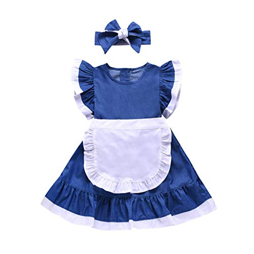 Alice in Wonderland Toddler's Costume,Fineser Alice Dress with Apron Summer Dress for Children Kid+Headband Outfits (Blue, 18-24 Months(100))