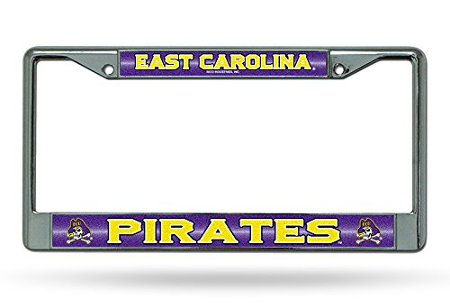 - Rico Industries NCAA East Carolina Pirates Bling Chrome License Plate Frame with Glitter Accent