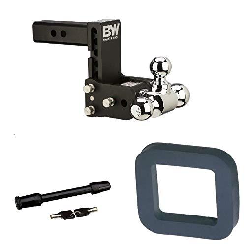 B&W Hitches B&W TS10048B Tow & Stow Magnum Receiver Hitch Ball Mount w/Silencer Pad & Premium 5/8