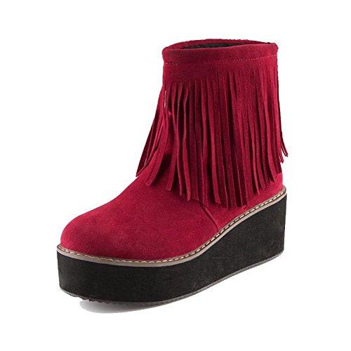 AllhqFashion Mujeres Sin cordones Tacón Alto Gamuza(Imitado) Sólido Caña Baja Botas Rojo