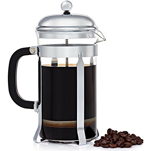 JavaPresse French Press Coffee and Tea Maker - Best Reinforced Glass with Chrome Frame - 8 Cup (34 ounce)
