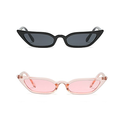 Semi Cateye Sunglasses Thin Narrow Skinny Small Pointed Clear Frame Trendy Chic (Black+Pink, 52)