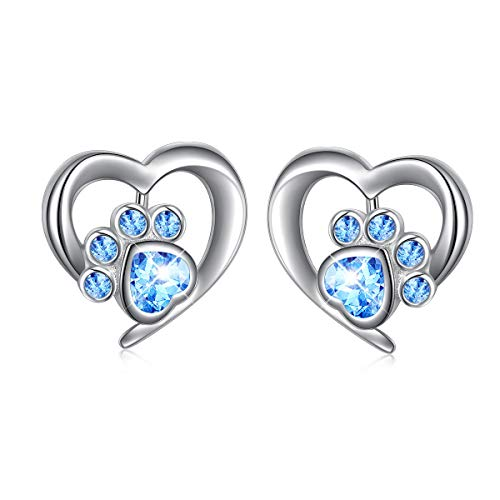 (925 Sterling Silver Cute Cz Cat Dog Paw Print in Heart Stud Earrings for Women Girls)
