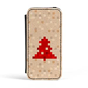 Red Pixelated Christmas Tree on Beige Premium Faux PU Leather Case Flip Case for Apple? iPhone 5 / 5s by UltraCases + FREE Crystal Clear Screen Protector