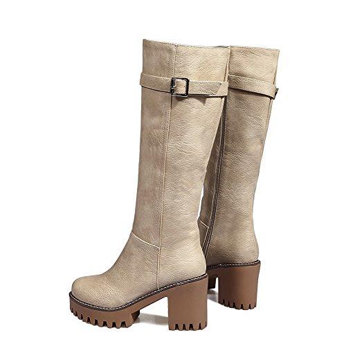 AgooLar Damen Hoher Absatz Weiches Material Hoch-Spitze Rein Reißverschluss Stiefel, Braun, 38