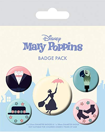Disney 1art1 Mary Poppins 15 x 10cm 1 X 38mm /& 4 X 25mm Chapas Set De Chapas
