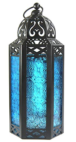 Blue Glass Moroccan Style Candle Lantern - Great for Patio, Indoors/Outdoors, Events, Parties and Weddings