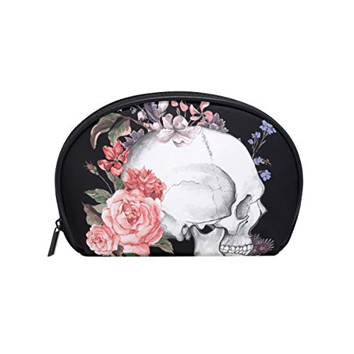 imobaby Rose Skull Cosmetic Makeup Bag Organizer for Women Travel Kit With Zipper Multifunction Toiletry Case Storage Bags ()