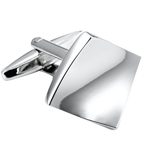 nded Square Stainless Steel Men's Cufflinks (Silver Color) ()