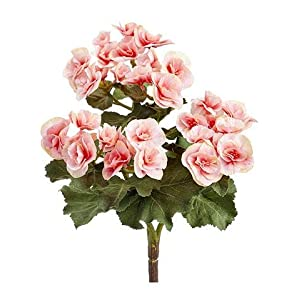 "Afloral Pink Begonia Silk Flowers Bush - 10"" Tall 42"