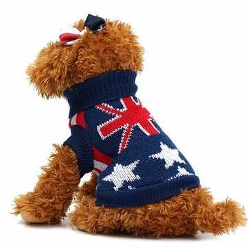 L Dog Dog Clothes & shoes Union Jack Pet Clothes Dog Cat Puppy Winter Warm Knit Sweaters Coats Costume Apparel Dog Sweater L1 x Dog Sweater