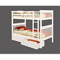 Bunk Bed Twin over Twin Mission Style in White with Drawers