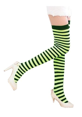 Sexy Stretchy Over the Knee High Stripes Tights XS ~ M in Neon Green &Black