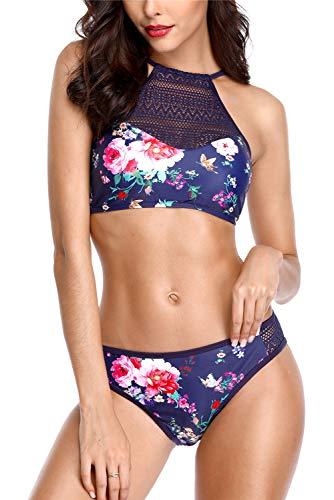 (ALove High Neck Bikini for Women Cross Tie Bathing Suit Bikini Swimwear Navy M)