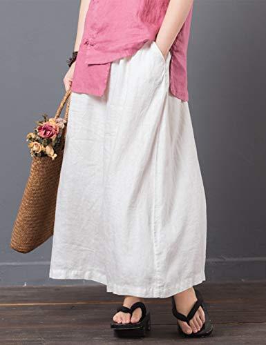 Elastique Coton Blanc Confortable t Vrac Lanterne Pantalon Harem Baggy en Zhhlinyuan Taille Unisexe Trouser Pantalon Lin ZWFnHwPc1q