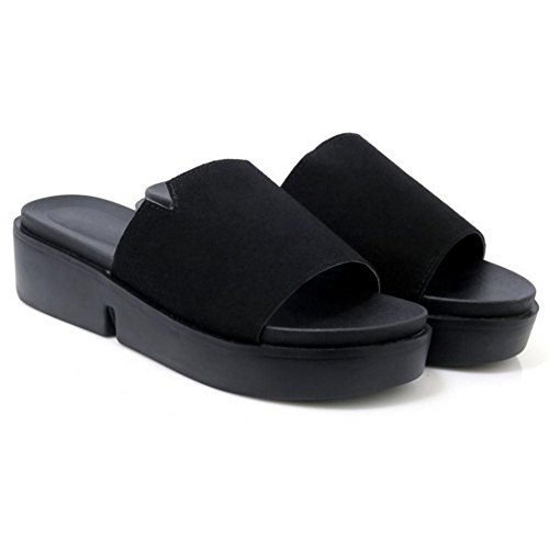 Women's Shoes Black Flatform TAOFFEN Summer Mules zqdIAqOw