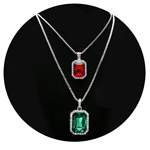 Green Man Silver Pendant - HongBoom Hot Hip Hop Box Chain 14K Gold Plated CZ Fully Iced-Out Square Ruby Necklace Set (Red + Green)
