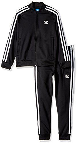 adidas Originals Outerwear | Big Boys' Kids Superstar Track Suit, Top: Black/White Bottom: Black/White, Large by adidas Originals