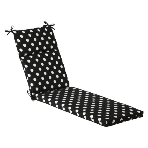 Pillow Perfect Indoor/Outdoor Polka Dot Chaise Lounge Cushion, 72.5 in. L X 21 in. W X 3 in. D, Black/White (Black And White Striped Chaise Lounge Cushions)