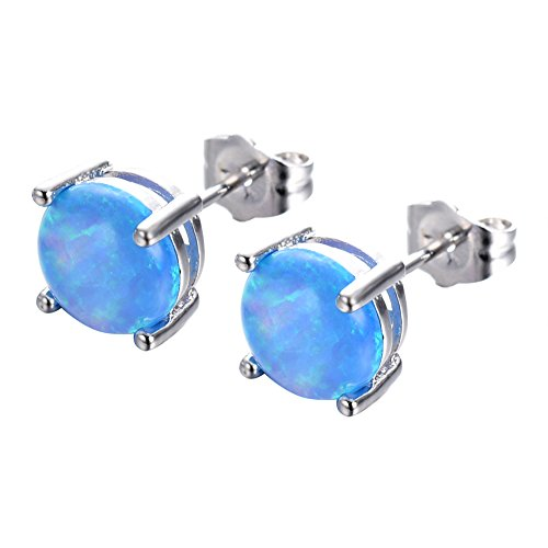 (925 Sterling Silver Earings Opal Studs for womens Opal Stud Round Cut Earrings Gold Plated Studs For Girls(Blue))
