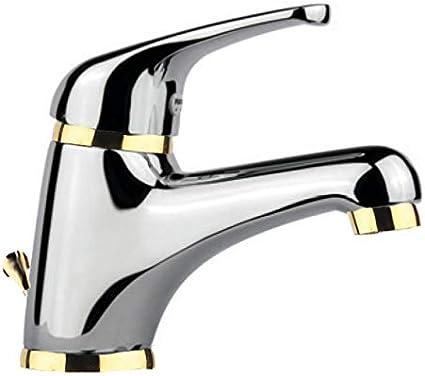 Grifo monomando para lavabo, en exclusiva combinación de colores cromados y dorados, con desagüe de barra