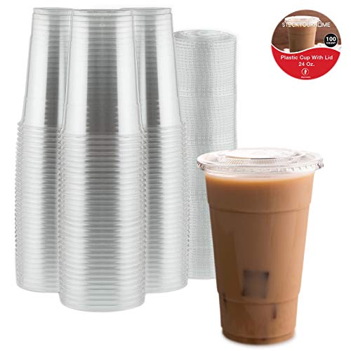 Stock Your Home 24 Oz Plastic Cups with Lids (100 Sets) Clear Plastic Cold Cups and Clear Flat Lid with Hole Perfect for Smoothies, Milkshakes, Cold Drinks, Frozen Beverages