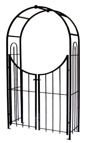 Panacea Products Arched Top Garden Arbor with Gate, Brushed Bronze