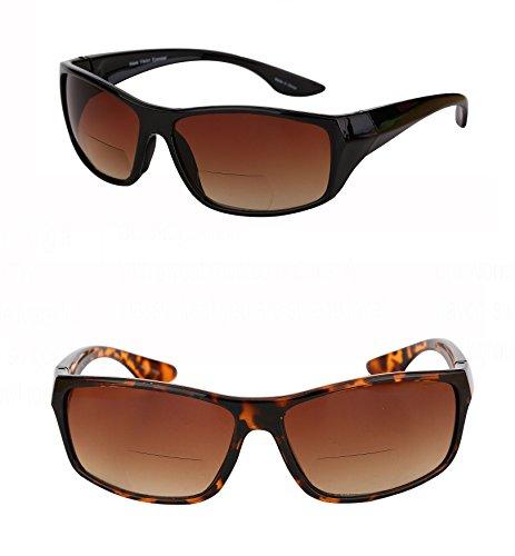 2 Pair of Unisex High Density (HD) Bifocal Driving Sunglasses (Black/Tortoise, - Bifocal Glasses Driving