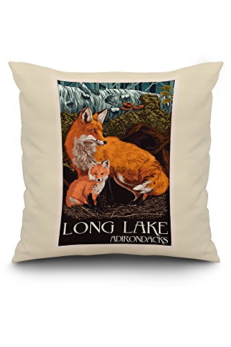 Long Lake, New York - The Adirondacks - Fox and Kit - Letterpress (20x20 Spun Polyester Pillow, White (Adirondack Cabin Kit)