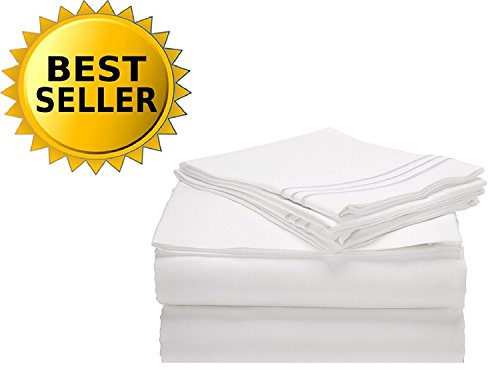 Comfort Thread - Elegant Comfort Bedding Collection 4-Piece Bed Sheet Set 1500 Thread Count Egyptian Quality Wrinkle Free Hypoallergenic with Deep Pockets, Queen, White