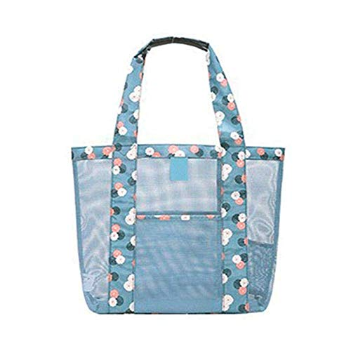 Womens Mesh Lightweight Tote Hand Oahu XXL Fashion Mesh Beach Bag Tote Shoulder Bag Great for the Beach or Stadium Events, Large Pockets,Foldable Travel Bag Waterproof Travel Duffel Bag (Blue)