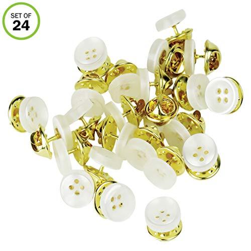 Evelots Instant Button Pins, Shirt/Blouse/Collar/Sleeve, Imitation Pearl- Set/24 - Imitation Pearl Pin