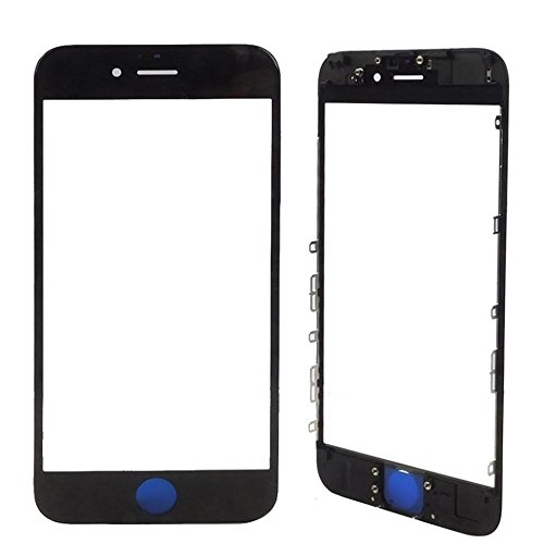 MMOBIEL Front Glass for iPhone 7 (Black) Display Touchscreen incl. Pre-installed Bezel Frame + Earpiece Mesh Replacement Front Lcd Panel Bezel