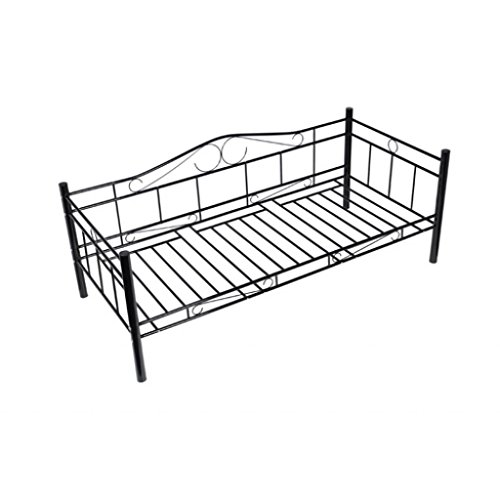 Metallbett schwarz 90x200  vidaXL Tagesbett Einzelbett 90x200 Metallbett Metall Bett ...