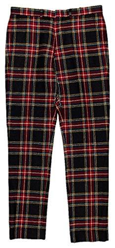 Crew Trousers Wool J - J Crew Ludlow Bowery Mens Slim Fit Pant in Wool Tartan Size 32W x 34L H1990 Red