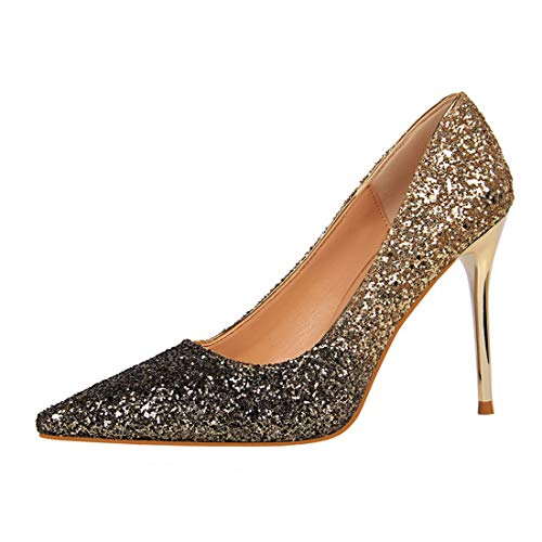 Sexy Nozze A Slim Sera b Paillettes Prom Donna Di joymod Pompe Mgm Glitter Classiche Punta Gold Scarpe Club Da Festa zI8xa4