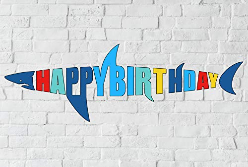 Shark Birthday Banner, Shark Shape Happy Bday Sign, Ocean Beach Under The Sea Theme Party Decoration]()