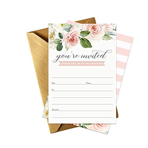Graceful Floral Party Invitations and Envelopes - Set of 15